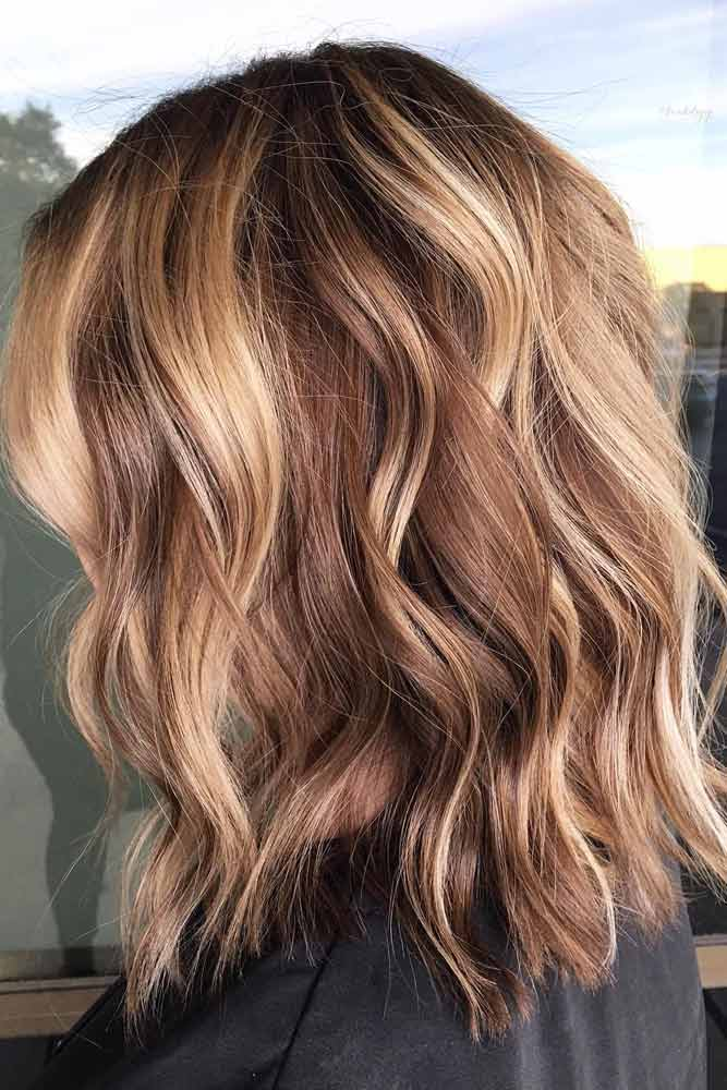 Beach Waves With Lowlights #mediumhair #lobhaircut