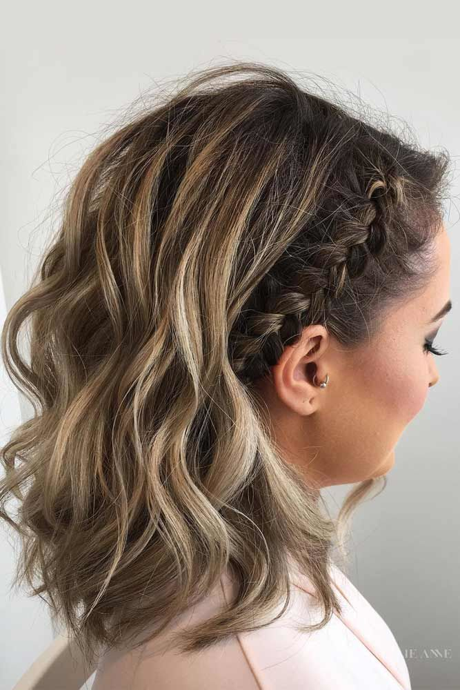 Braided Shoulder Length Hair Styles #mediumhair Highlights #mediumhairstyles