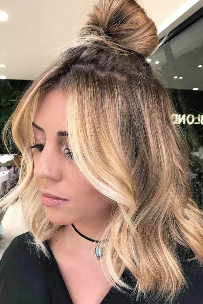 Medium Length Hairstyles With Top Knot Blonde #mediumhair #mediumhairstyles