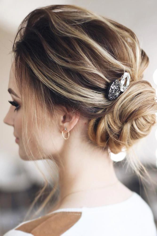 Updos Hairstyles Low Bun Brown #mediumhair #mediumhairstyles