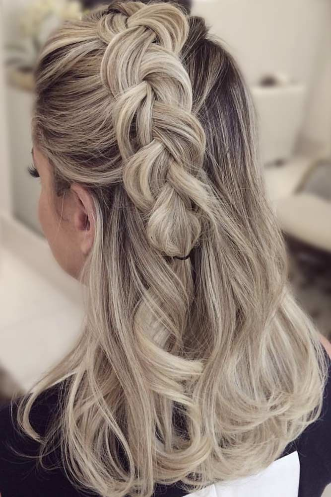 Big Braids For Medium Length Hair Blonde #mediumhair #mediumhairstyles