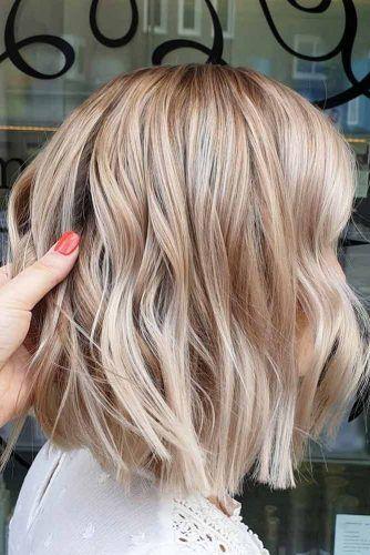 Blunt Beige Blonde Lob #mediumhair #lobhaircut
