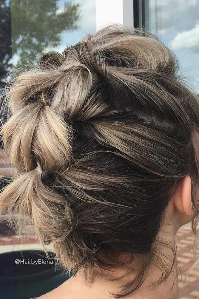 Wavy Updos Hairstyles For Medium Length Hair Pull Through #mediumhair #mediumhairstyles
