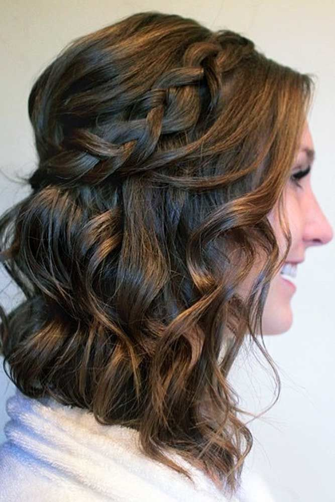 Headband Braid Half-Up Waves #mediumhair #mediumhairstyles