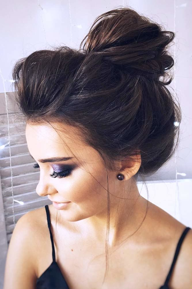 High Bun Hairstyles Brunette #mediumhair #mediumhairstyles