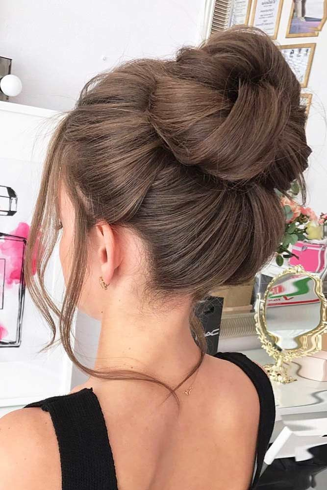 High Bun Hairstyles Messy #mediumhair #mediumhairstyles