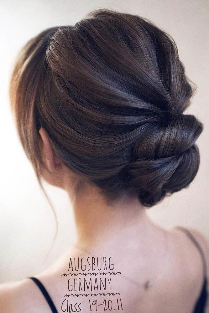 Wavy Low Updos Hairstyles Brunette #mediumhair #mediumhairstyles