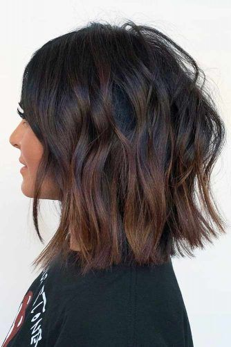Brunette Textured Medium Length Hairstyle #mediumhair #lobhaircut