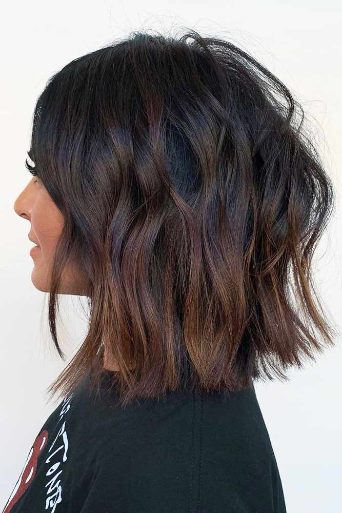 Brunette Textured Medium Length Hairstyle #mediumhair #lobhaircut