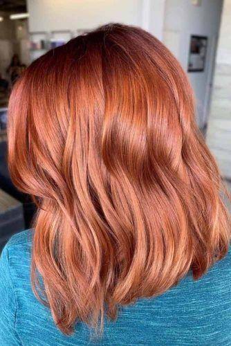 Copper Medium Length Hairstyle #mediumhair #lobhaircut