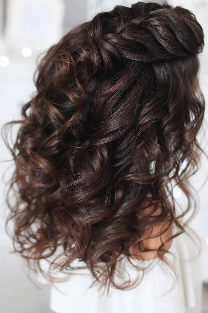 Headband Braid Half-Up Brunette #mediumhair #mediumhairstyles