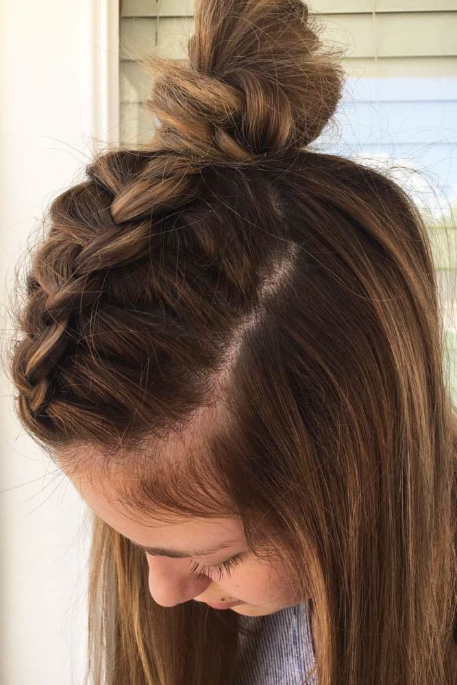 Braided Half-Up Knot Brown #mediumhair #mediumhairstyles