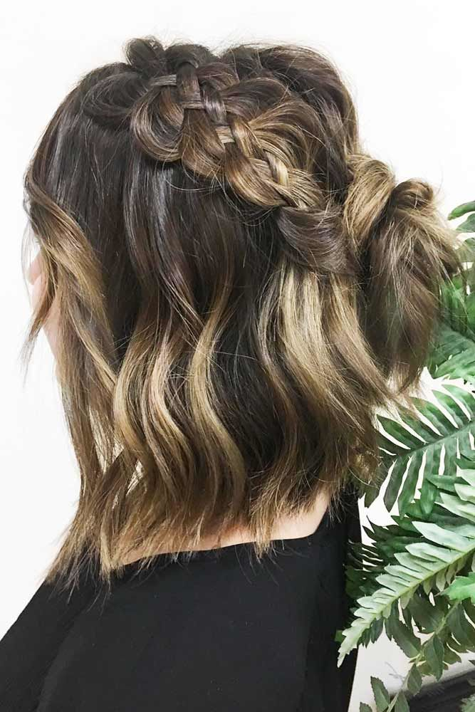 Braided Half-Up Knot Ombre #mediumhair #mediumhairstyles