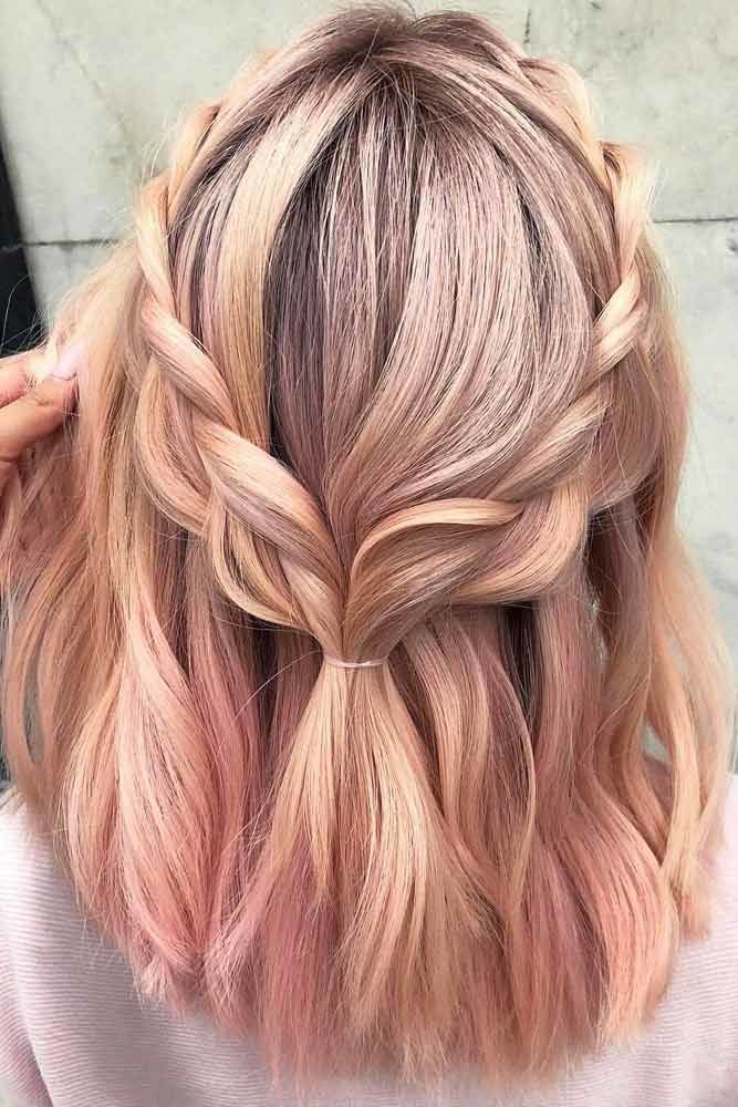 Braided Half-Up Hairstyles For A Cute Look Pink #mediumhair #mediumhairstyles