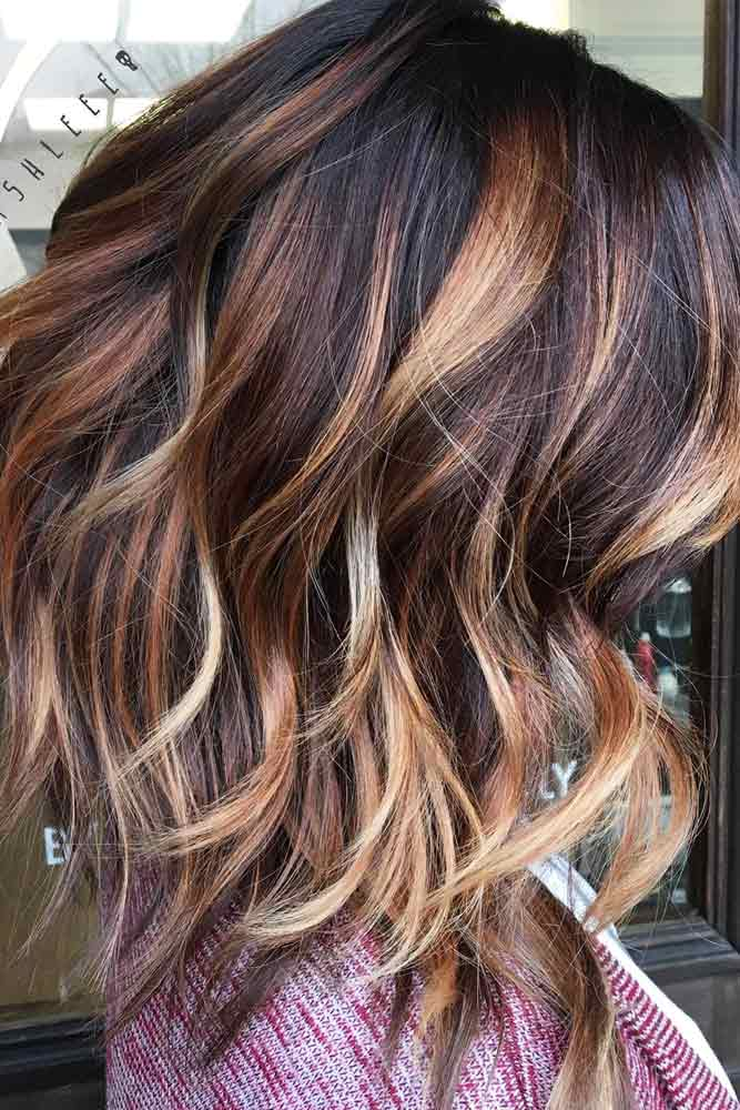 Highlighted Shag Hairstyle #mediumhair #lobhaircut
