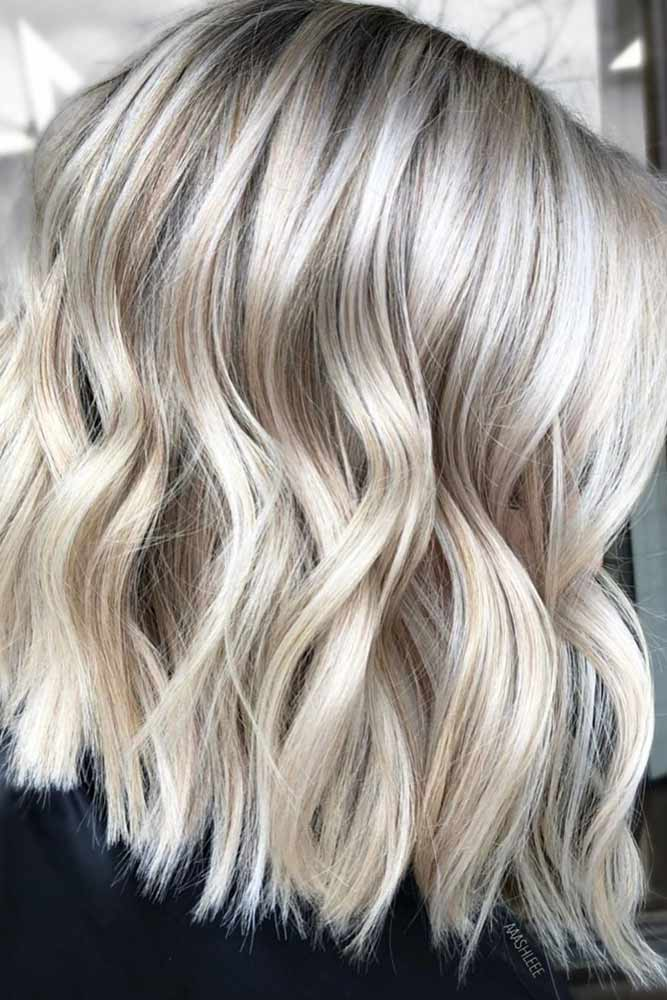 Icy Blonde Beach Waves #mediumhair #lobhaircut