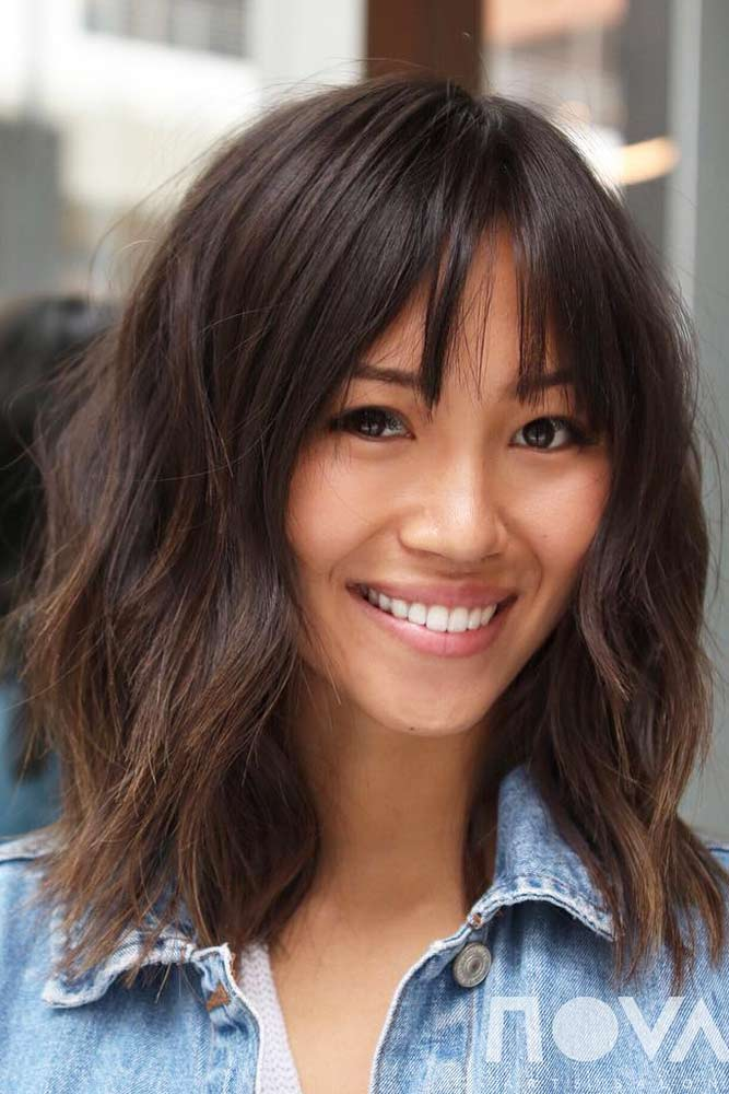 Medium Haircut With A Fringe #mediumlengthhairstyles #mediumhair #thickhair #longbob #brownhair
