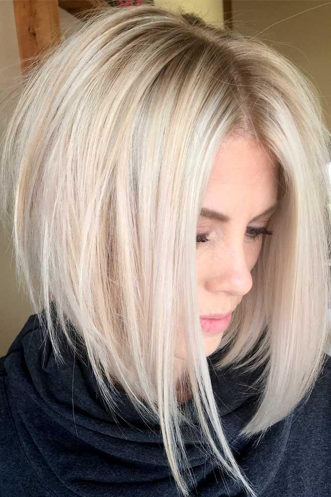 Classy Medium Blonde Bob #mediumlengthhairstyles #mediumhair #thickhair #longbob #blondehair