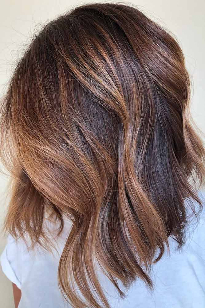 Milk Chocolate Balayage For Long Bob #mediumhair #lobhaircut