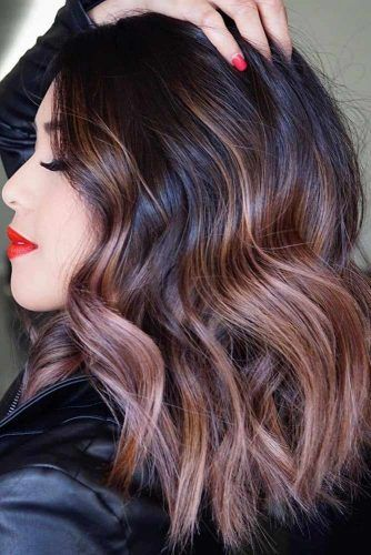 Brunette To Mauve Ombre For Long Wavy Bob #mediumhair #lobhaircut