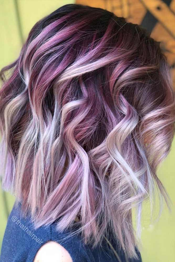 Pink Balayage For Wavy Lob #mediumhair #lobhaircut