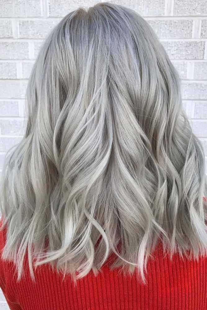 Silver Loose Curls #mediumhair #lobhaircut