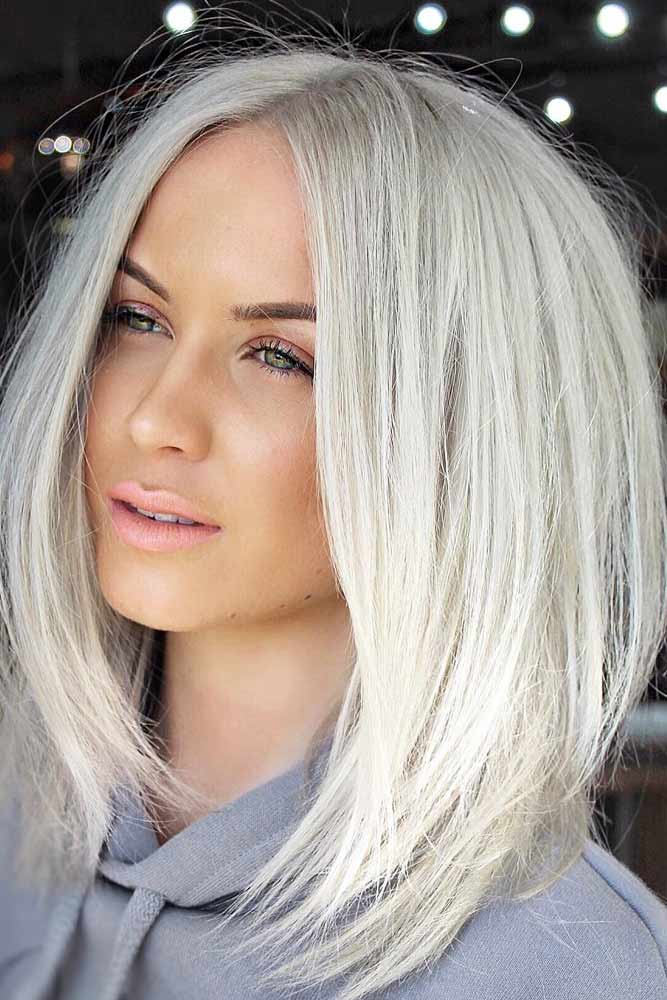 Middle Part Straight Haircut #mediumlengthhairstyles #mediumhair #thickhair #longbob #icyblondehair