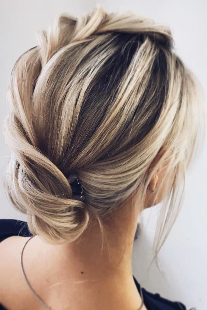 Updos Hairstyles Low Bun Blonde #mediumhair #mediumhairstyles