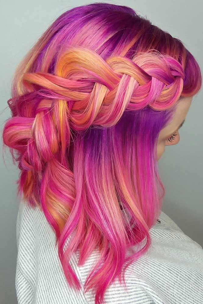 Braided Half-Up Hairstyles For A Cute Look Purple #mediumhair #mediumhairstyles