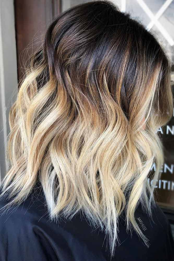 Waves With Blonde Ombre #mediumhair #lobhaircut