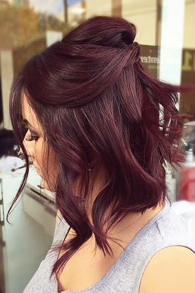 Messy Medium Half-Up Red #mediumhair #mediumhairstyles