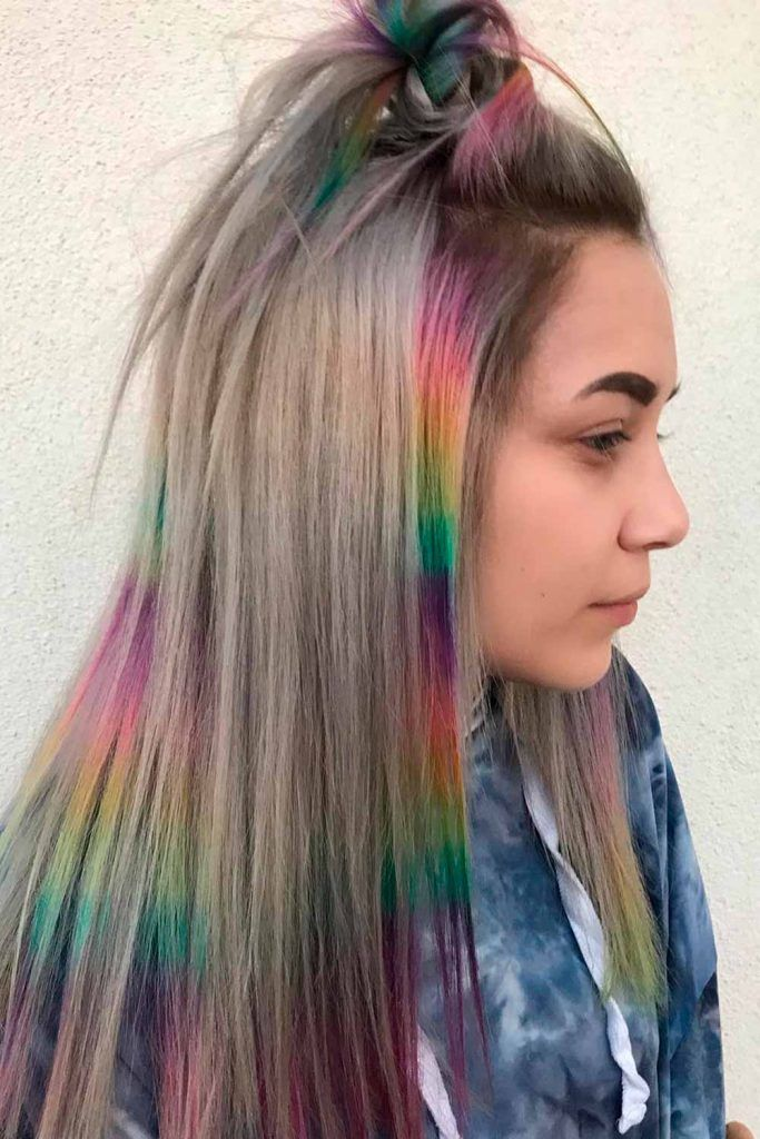 Sleek Rainbow Ombre on Long Hair