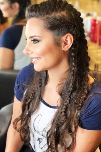 Side Braids Lagertha Style Half-Up #braids #halfup