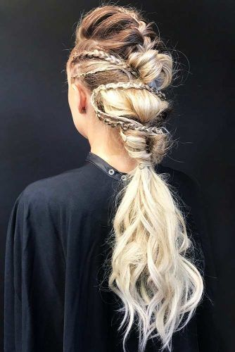 Mohawk Braids Lagertha Low Pony Hairstyles #braids #ponytail