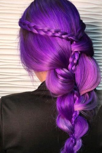 Violet Hair Color with Braids picture3