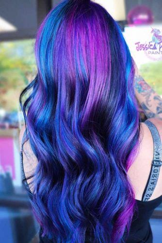 Violet And Blue Highlights For Long Wavy Hair #violethair #haircolor