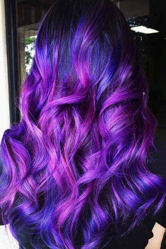 Violet And Blue Highlights #violethair #haircolor