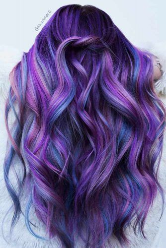 Violet And Blue Highlights For Long Hair #violethair #haircolor
