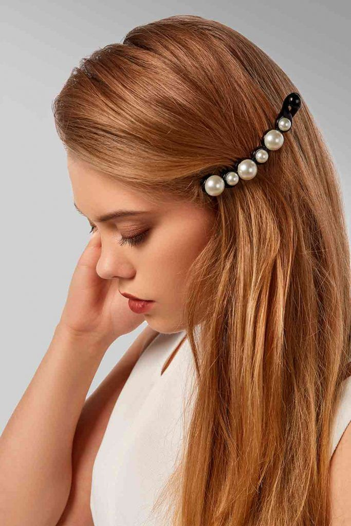 Barrette With Pearls For Simple Hairstyles