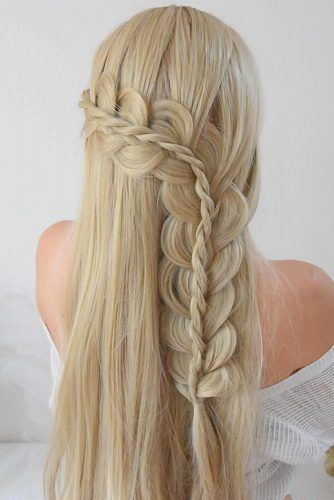 Stacked Braid Hairstyles Blonde #winterhairstyles