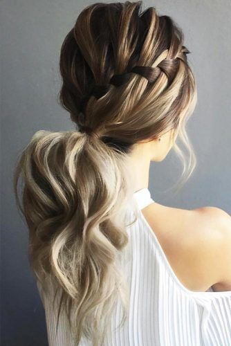 Low Ponytails Waterfall Braid #updo #ponytails #braids