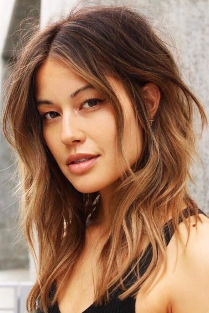 Shoulder Length Wavy HairFor Brunette Girls #mediumhair #wavyhair