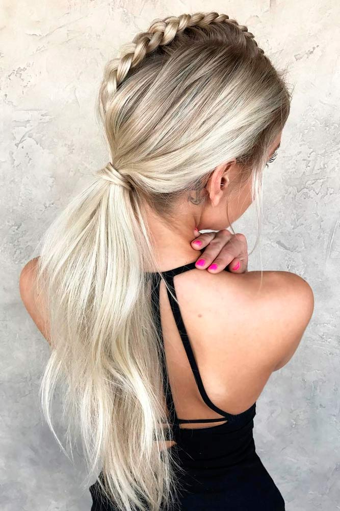 Dutch Mohawk Braided Ponytail Wavy #ponytail #braids #updo
