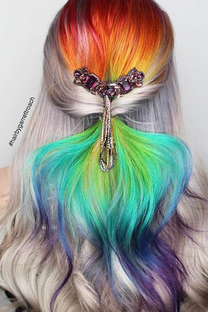 Cute Half Up Half Down Ponytails Rainbow #ponytails #updo
