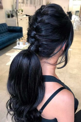 Braided Black Ponytail Hairstyles #ponytail #updo #braids