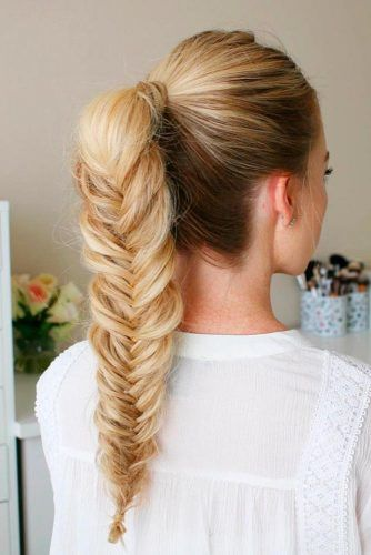 Ponytails Into Fishtail Braids Blonde #braids #updo #ponytail