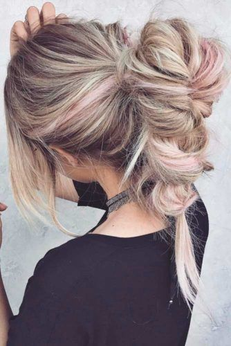 Ponytails Into Fishtail Braids Highlights #braids #updo #ponytail
