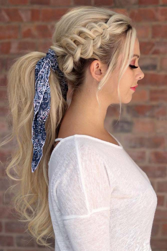 Braided Ponytail With Head Scarf #ponytails #updo