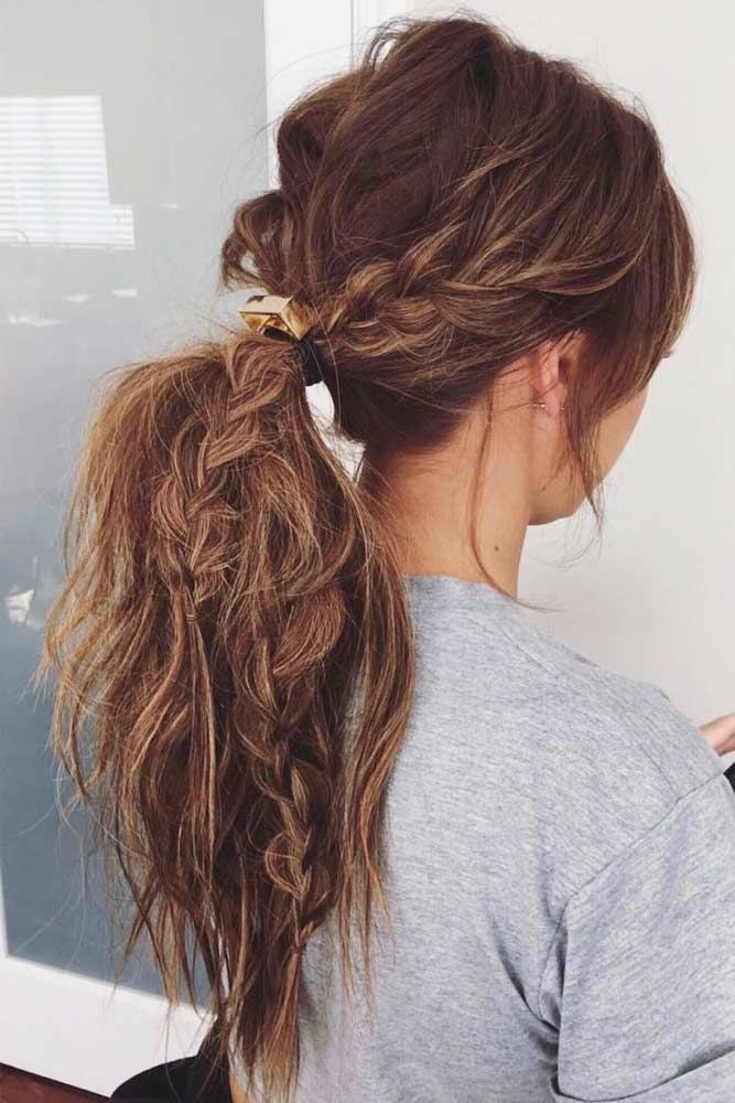Messy Low Ponytail With Braids #ponytails #updo