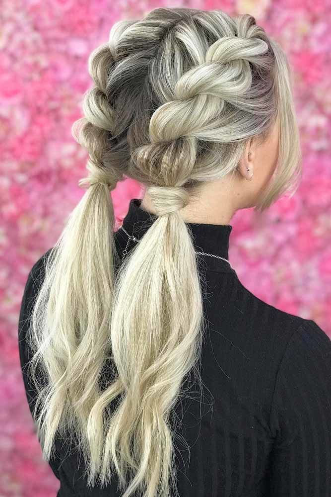 Twisted Braids Into Ponytails #ponytails #updo